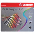 STABILO Aquacolor 1624-5 專業級木顏色(24色/鐵盒裝)