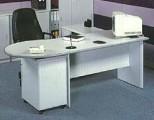 寫字檯-P形檯+推3桶櫃+側檯 木色