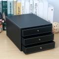 高檔皮革桌面三格文件櫃