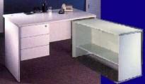 長方型辦公桌+吊3桶櫃+側檯 灰色