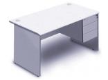 長方型辦公桌+吊3桶櫃 灰色