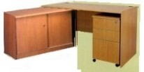 寫字檯+推3桶櫃+ #690 地櫃 木色