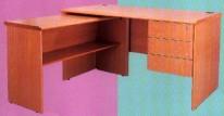 長方型辦公桌+吊3桶櫃+側檯 木色