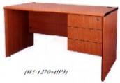 長方型辦公桌+吊3桶櫃 木色