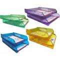 Easymate 易事美透明塑膠雙層文件盤 <直> / 藍色
